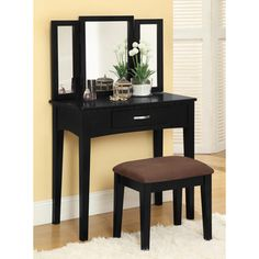 Furniture of America Jade 2-Piece Solid Wood Vanity Table and Stool Set - Overstock™ Shopping - The Best Prices on Furniture of America Bedroom Mirrors