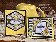 """I altered the """"Lots of Happy"""" card kit from Stampin Up! I really like the shading you can achieve with the Stampin Blends markers. Pumpkin Cards, Paper Pumpkin, Stamping Up Cards, Handmade Birthday Cards, Card Maker, Mellow Yellow, Card Kit, Flower Cards, Kids Cards"""