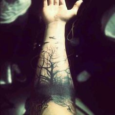 Silhouette tattoo, trees, birds, arm tattoo, black ink