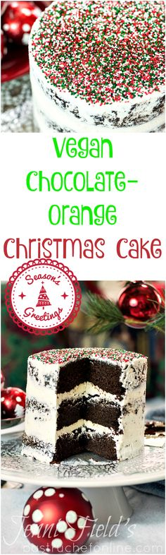 This vegan chocolate orange Christmas cake would make a welcome addition as a Christmas cake or other holiday dessert. Simple yet stunning non pareil decoration on a naked cake makes a sleek statement too! | pastrychefonline.com