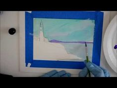 How to Paint the Ocean Alcohol Ink on Yupo brush work  - Part 2 Lighthouse