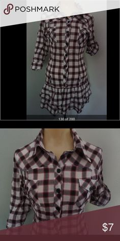 Plaid shirt/dress Like new- plaid Mid length shirt, that can be worn with leggings and jeans Cotton Candy Tops Button Down Shirts
