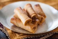 Chinese Spring Rolls with Chicken Recipe - light, crisp-crackly skin and small enough to enjoy in 4 bites, light and full of tender-crisp vegetables filling| steamykitchen.com ~ https://steamykitchen.com