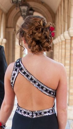 Prom hair and I love the back of the dress.