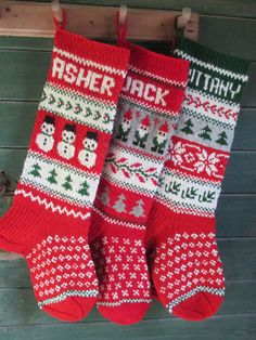 Christmas Stocking Personalized Hand knit Wool Cranberry Red White ...