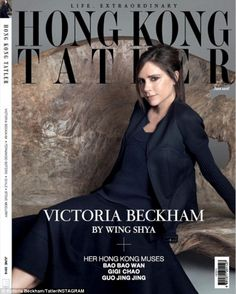 Cover star: Victoria Beckham looked elegant as she wore her own chic designs on the cover of the new issue of Hong Kong Tatler June 2016