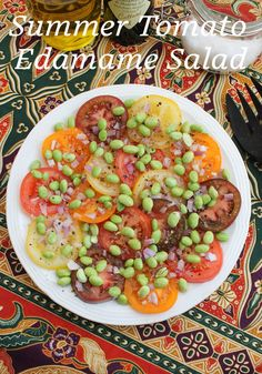 Food Lust People Love: The combination of vine-ripened tomatoes, along with a sprinkling of shelled edamame, makes this a fabulous fresh salad full of the flavors of summer. Sometimes the simplest salads are the best. Edamame Salad, Shelled, Summer Tomato, Stuffed Shells, Easy Salads, Black Eyed Peas, Kung Pao Chicken, Tomatoes, Lust