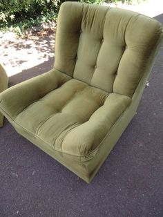 Retro Vintage Lounge Suite - 2.5 Seater Sofa 2 Armchairs - Green Velvet Cord