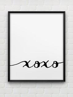 printable xoxo poster // hugs and kisses print // instant download minimalistic print // black and white home decor // love printable