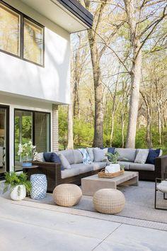 SHOP THE LOOK: Phoenix Outdoor Stool , Parish Coffee Table , Montecito Sectional Outdoor Stools, Outdoor Pouf, Outdoor Armchair, Outdoor Dining Chairs, Outdoor Furniture Sets, Modern Outdoor Living, Modern Patio, Decks, Phoenix
