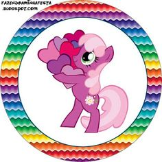 My Little Pony Strong Colors - Full Kit with frames for invitations, labels for snacks, souvenirs and pictures! My Little Pony Cumpleaños, Fiesta Little Pony, Little Poney, My Little Pony Birthday Party, 4th Birthday, Rainbow Dash Party, Baby Showers, Pony Cake, Oh My Fiesta