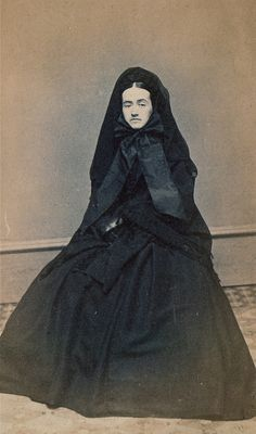 When a woman mourned for her husband in the 1860's, she spent a year in mourning. Little or no social activities: no parties, no outings, no visitors, and a wardrobe that consisted of nothing but black. The following year, she is allowed to wear a shorter veil and adorn her gown with black trimmings. During the  final 6 months of her mourning period, which can extend to 5 years, she may wear lavender or gray. It was not unusual for a widow to dress in mourning attire for the rest of her life...