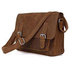 """Vintage Handmade Crazy Horse Leather Messenger Bag / 11"""" MacBook Satchel"""