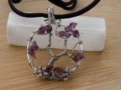 Tree of Life Pendant Super 7 Amethyst Briolette by OurFrontYard