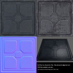 Sci fi floor I first extracted the normal map by baking a high (well not so high) mesh in MAX then i did the paint job on Photoshop mostly by hand. 3d Max, Normal Map, Diffuser, Sci Fi, Eyeshadow, Concept, Deviantart, Flooring, Texture