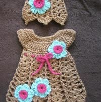 Crocheting: Shells and Bells Newborn Dress and Hat