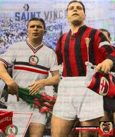 Friendly match : AC Milan vs Budapest Honvéd 3-2. Ferenc Puskás (Budapest Honvéd FC, 1943–1956, 341 apps, 352 goals) and Gunnar Nordahl (AC Milan, 1949–1956, 257 apps, 210 goals) posing for the usual photos, on 29 June 1955.