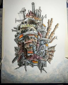 """Beautiful #watercolor #airship #illustration by Helena Antelo (@heleacla) of The Castle from Hayao Miyazaki's movie """"Howls Moving Castle."""" A castle that can walk fly and is partially sentient with doors that enable people to travel through space and time? Yeah I would mind having one of those! And Helena did a wonderful job matching to colors of the original and capturing all the awesome details and textures. Love it! ::------:: #painting #drawing #castle #anime #flying #Miyazaki #movie…"""