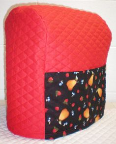 Red Quilted Fruit Cover for Sunbeam Heritage Series 4.6qt Mixmaster w/2 Pockets