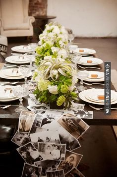 Table runner *mix B&W & sepia *choose pics of baby - senior pics *consider laying over top of burlap runner