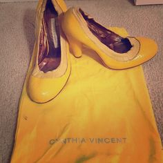 Snake skin detail heels Adorable and fashionable canary yellow heels by Italian designer. Worn for one season. With shoe bag for protection. Cynthia Vincent Shoes Heels
