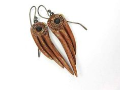 Red Demon Wing Earrings - Rustic Artisan Ceramic Earrings No. 257 - pinned by pin4etsy.com