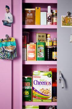 Bright colored cabinet. #kitchen #kitchencolors