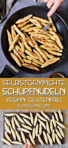 German Schupfnudeln (Potato Noodles) These are the best vegan and gluten-free German Schupfnudeln. These hearty potato noodles are very popular in Germany and Austria, and they can be combined with lots of savory dishes. Vegan Breakfast Recipes, Vegetarian Recipes, Dinner Recipes, Healthy Recipes, Vegetarian Diets, Vegan Food, Healthy Food, Potato Noodles, Potato Pasta