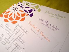 NEW Modern Bloom - Custom Crossword Puzzle - Perfect for weddings, rehearsal dinners and showers on Etsy, $21.96 AUD