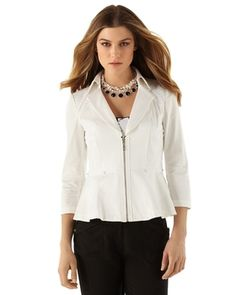 Womens White 3/4-Sleeve Peplum Jacket by White House Black Market in Principles of Style 2013 from White House   Black Market on shop.CatalogSpree.com, my personal digital mall.