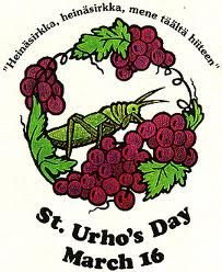 St. Urho saved the Finnish vineyards by chasing out the grasshoppers.  Celebrate by drinking purple and green wine on March 16th!  More at http://membracid.wordpress.com/2011/03/16/its-st-urhos-day/