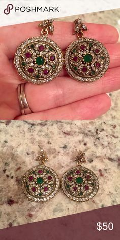 Turkish earrings Beautiful Turkish earrings stamped 925. Emerald, ruby, and white topaz stones. Jewelry Earrings