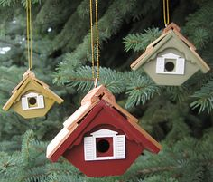 Classic Cottage Birdhouse Ornament Set of 3, Handcrafted Birdhouse Christmas Tree Ornaments at Songbird Garden