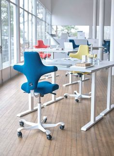Try out multiple colours in an all white office - the results are VERY cool. Hag Capisco Saddle Chair. £529.00