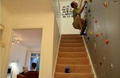 Even better- climbing wall down the basement stairs!
