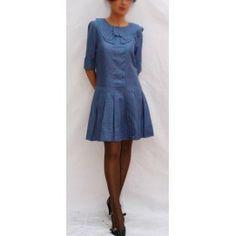 Vestido malva topos azules - Vestidos Doll - bambolara
