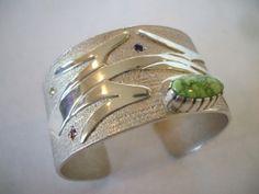 Signed ANDREW REDHORSE Alvarez Sterling Silver Tufa & GEMSTONE Cuff Bracelet.   TurquoiseKachina, $1136.50