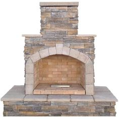 Cal Flame 78 in. Brown Natural Stone Propane Gas Outdoor Fireplace