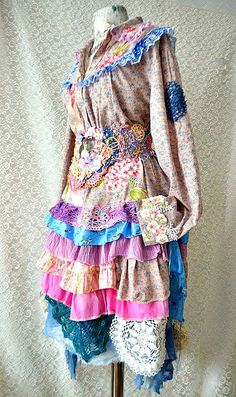 Upcycled dressrepurposed dress shabby chic  marie by irinacarmen, $138.00
