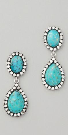 DANNIJO Cash Earrings  Great way to wear turquoise!