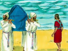 Free Bible illustrations at Free Bible images of Joshua asking the priests, carrying the Ark of the Covenant, to enter the flooded River Jordan and the miraculous crossing that followed. (Joshua 3:1 - 4:24): Slide 6