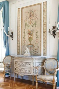 #Patterns - floor, commode, fabrics and wall! What a delight for the eyes! The fabulous flair of French decor.