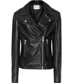 Womens Black Leather Biker Jacket - Reiss Virna