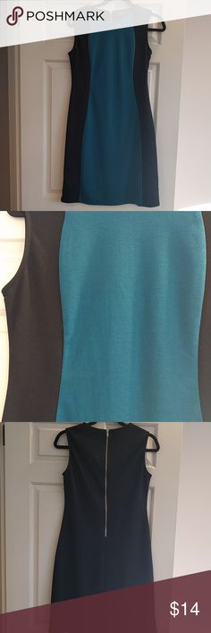 Teal and black dress Zipper detail down the back, really nice to wear for work Dresses Midi