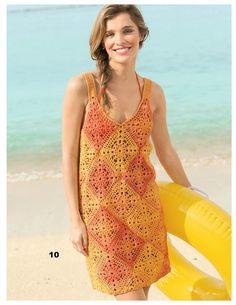 Um vestido ou saída de praia todinha feita com união de squares...   Os famosos quadradinhos de crochê.             GRAFICO UM CLIQUE AQUI ...