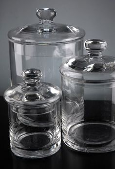 Jars Inexpensive glass jars for bathroom storage. Add a label or some etching and it would be fabulous!Inexpensive glass jars for bathroom storage. Add a label or some etching and it would be fabulous! Candy Buffet Jars, Candy Jars, Glass Canisters, Kitchen Canisters, Kitchenware, Jar Storage, Bathroom Storage, Glass Storage Jars, Glass Jars With Lids
