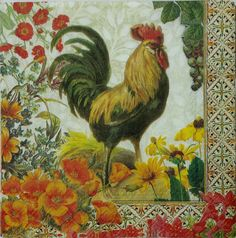 Punch Studio ROOSTER 2 individual LUNCH SIZE paper napkins for decoupage 3-PLY  #PunchStudio