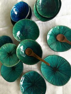 Green Decorated Ceramic Bowl Handmade Bowl Pottery Bowl