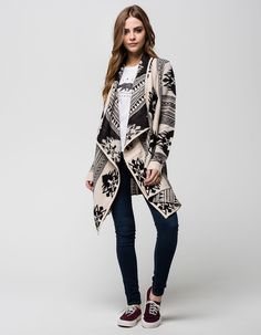 Womens Pure Wool Zip and Button Chunky Crew Neck Cardigan | Cabins ...