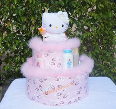 Shop for on Etsy, the place to express your creativity through the buying and selling of handmade and vintage goods. Diaper Cakes, Hello Kitty, Birthday Cake, Creative, Cute, Handmade, Etsy, Beautiful, Birthday Cakes